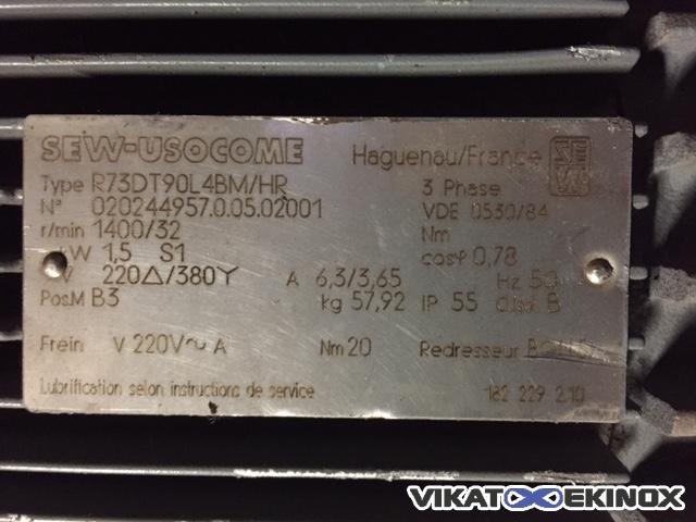 Sew Usocome Geared Motor Type R73dt90l4m Hr Vikat Ekinox