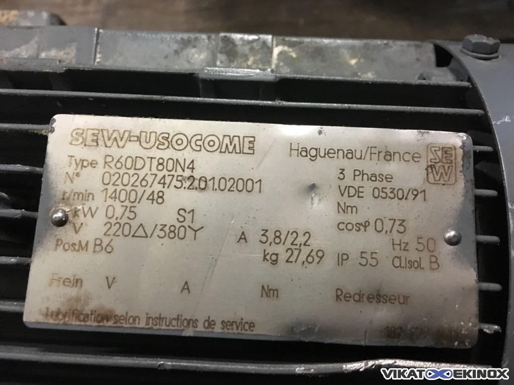 Sew Usocome Geared Motor R60dt80n4 Vikat Ekinox