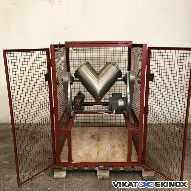 Stainless steel rotary mixer, V-shaped, 24 litres total