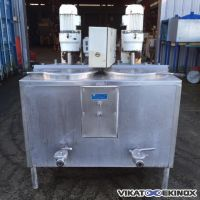 2 stainless steel twinned tanks with agitator, 120L/tank
