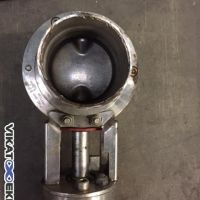Butterfly valve DN 72 SMS connection with pneumatic actuator