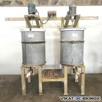 Skid composed of 2 S/S tanks with stirrer 200 litres