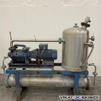 S/S vacuum skid 5.5 kw with tank and tubular heat exchanger