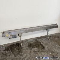 SCHUMA plastic chain conveyor Length 2950 x width 85 mm – S/S frame